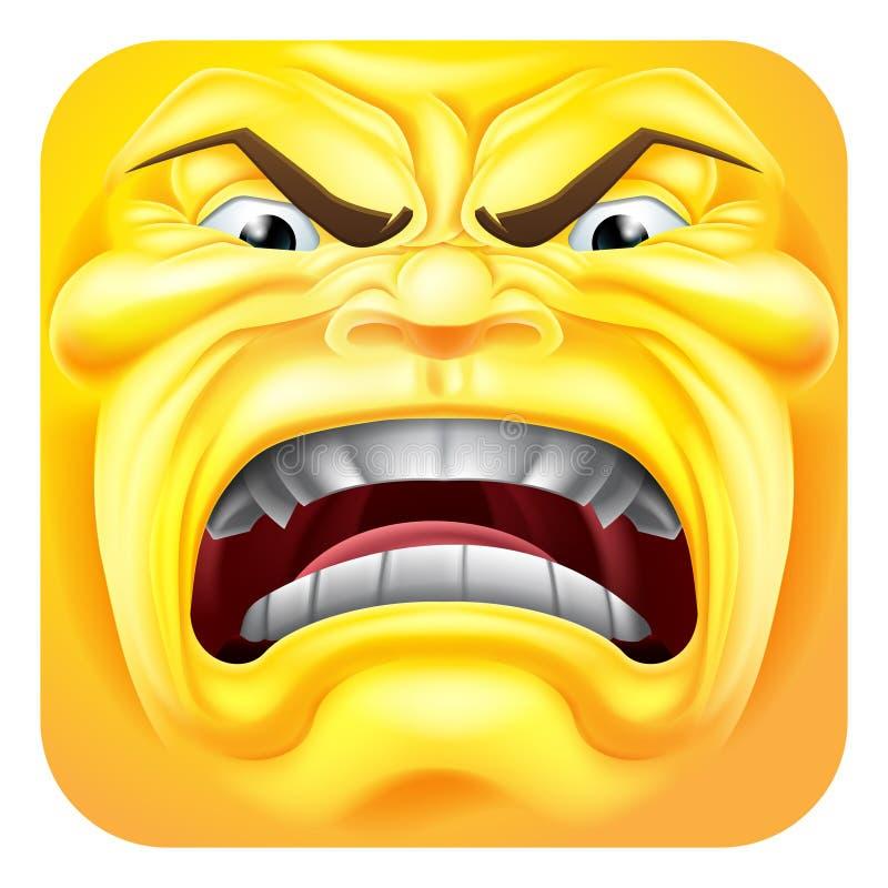 Personagem de banda desenhada irritado do ícone do Emoticon 3D de Emoji ilustração royalty free