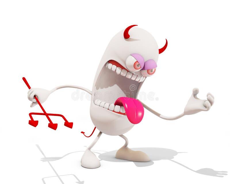 Personagem de banda desenhada irritado do diabo ilustração royalty free