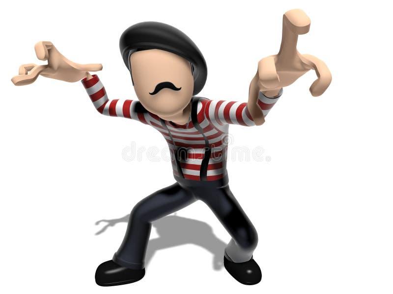 Personagem de banda desenhada irritado do francês 3D ilustração do vetor
