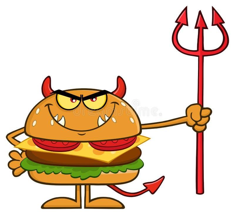 Personagem de banda desenhada irritado do hamburguer do diabo que guarda Trident ilustração stock