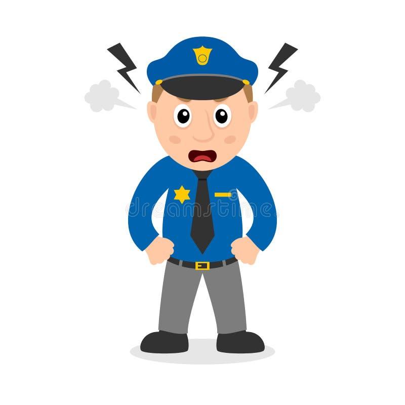 Personagem de banda desenhada irritado do polícia ilustração do vetor