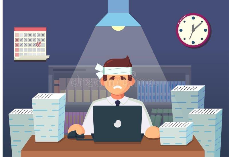 Personagem de banda desenhada liso engraçado Trabalhador de escritório cansado que senta-se e que trabalha toda a noite Ilustraçã ilustração royalty free