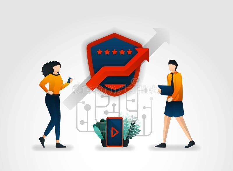 personagem de banda desenhada liso os usuários fornecem revisões de segurança em cada aplicação eles uso as empresas de segurança ilustração stock