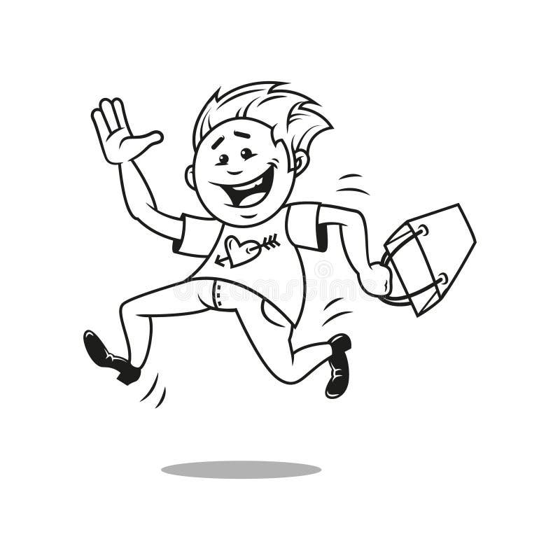 Personagem de banda desenhada liso simples da arte que corre para comprar ilustração stock