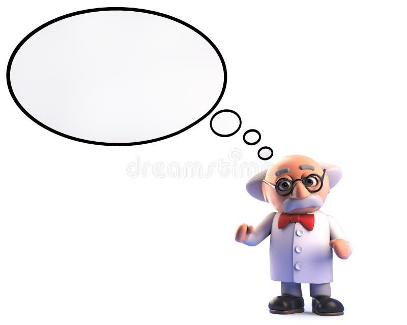 Personagem de banda desenhada louco do professor do cientista com bolha do pensamento, ilustração 3d ilustração do vetor