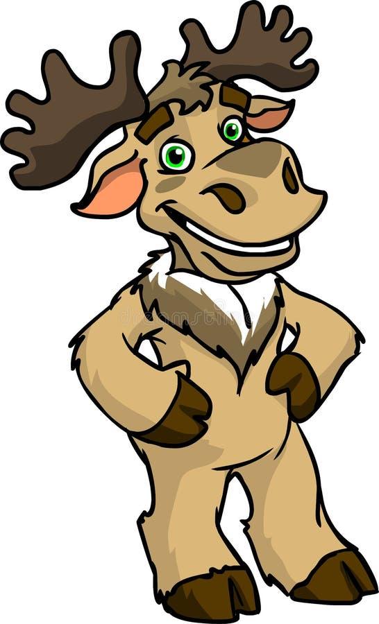 Personagem de banda desenhada pintado - rena no fundo branco fotografia de stock royalty free