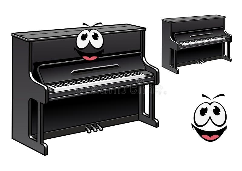 Personagem de banda desenhada preto bonito do piano ilustração do vetor