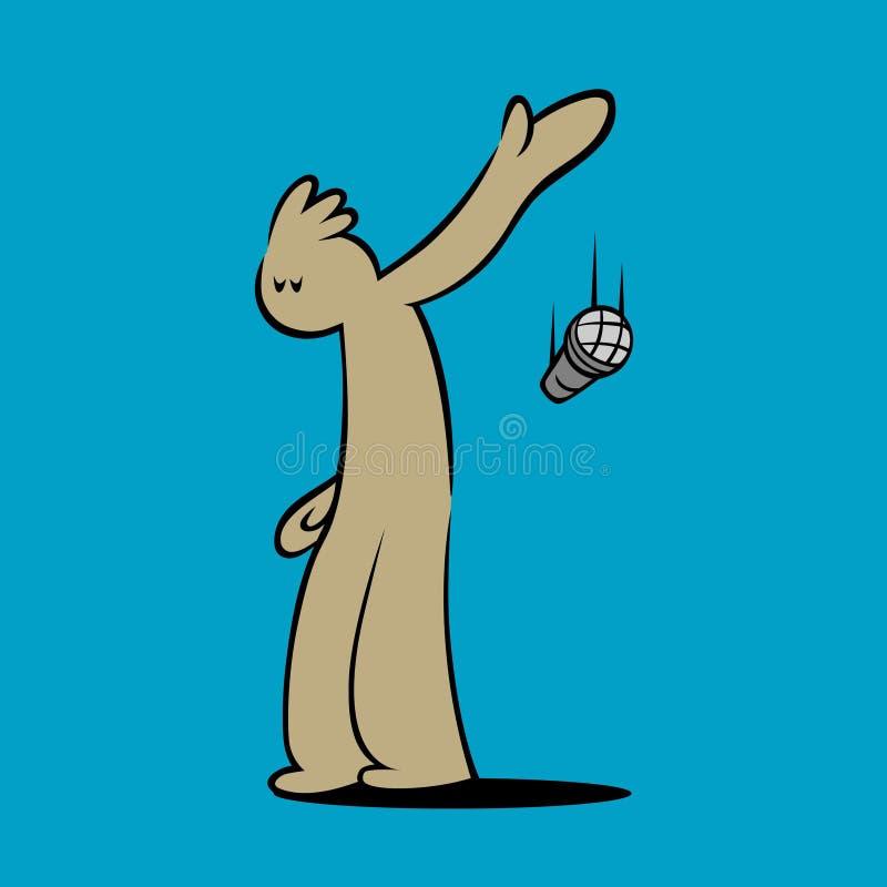 Personagem de banda desenhada que deixa cair o microfone ilustração do vetor