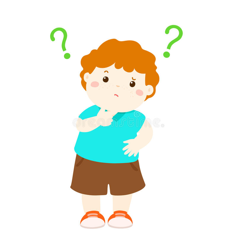 Personagem de banda desenhada querendo saber do cabelo de cobre do rapaz pequeno ilustração stock