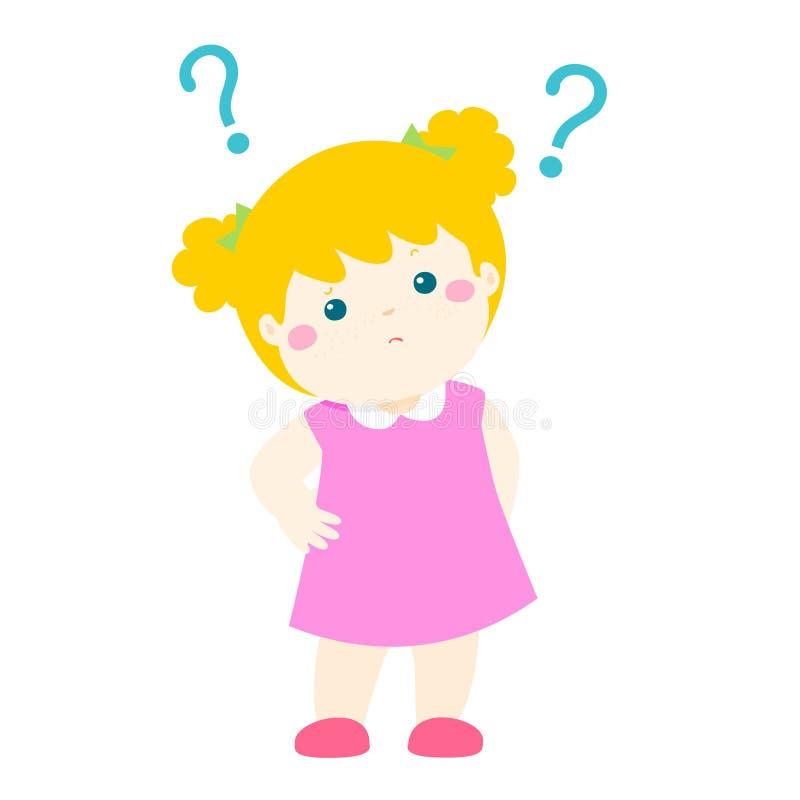 Personagem de banda desenhada querendo saber do cabelo louro da menina ilustração do vetor