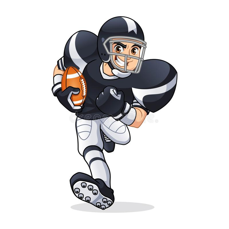 Personagem de banda desenhada running do jogador de futebol americano ilustração do vetor