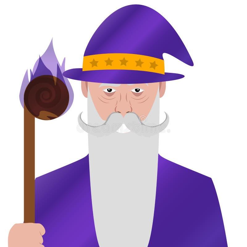 Personagem de banda desenhada Símbolo do Avatar wizard mágico Vetor ilustração do vetor