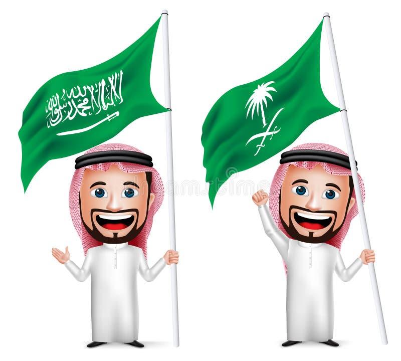 personagem de banda desenhada saudita realístico do homem 3D que guarda e que acena a bandeira de Arábia Saudita
