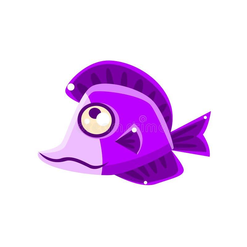 Personagem de banda desenhada sonhador de Violet Fantastic Aquarium Tropical Fish ilustração stock