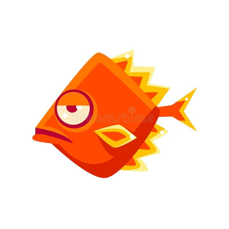 Personagem de banda desenhada tropical dado forma Diamon alaranjado esnobe dos peixes do aquário fantástico ilustração royalty free