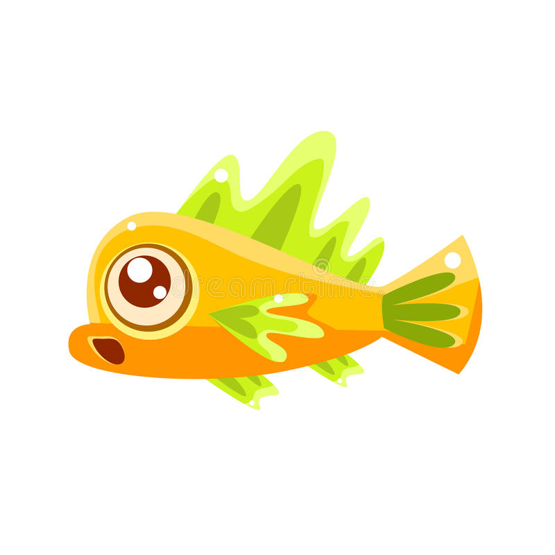 Personagem de banda desenhada tropical surpreendido dos peixes do aquário fantástico amarelo ilustração royalty free