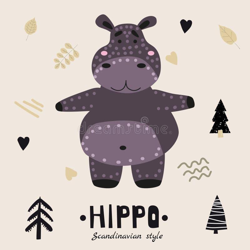 Personagem engraçada e fofa do Hippopotamus Ilustração vetorial infantil em desenho plano ao estilo escandinavo Ilustação vetoria ilustração stock