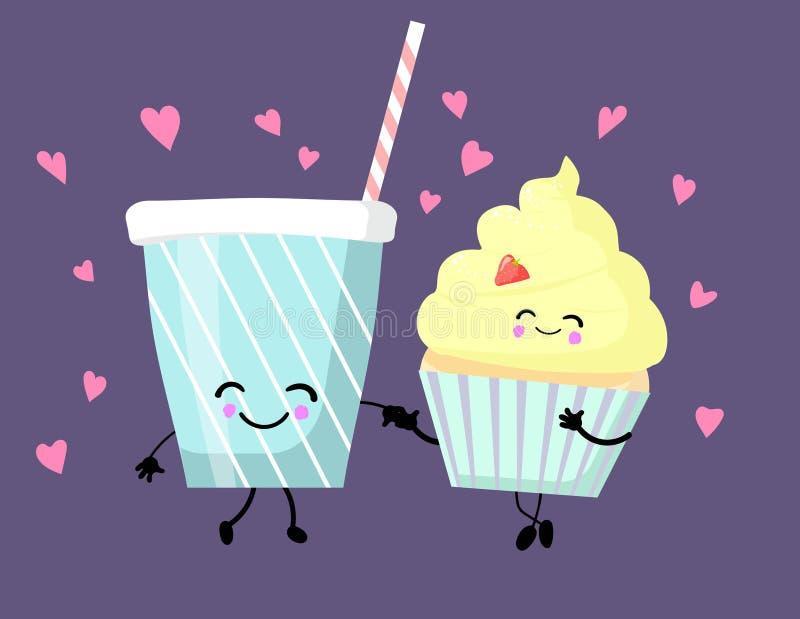 Personagens bonitos de desenho animado de lanches fast-food isolados em branco: bolinho ou bolinho, milk-shake ilustração stock