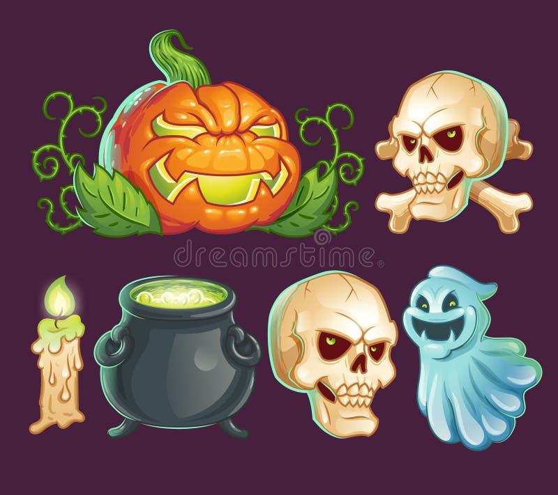 Personagens de banda desenhada, ícones, etiquetas para Dia das Bruxas ilustração royalty free