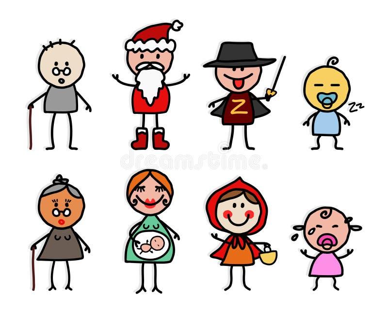 Personagens de banda desenhada 3 ilustração do vetor