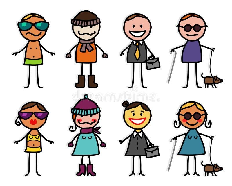 Personagens de banda desenhada 4 ilustração royalty free