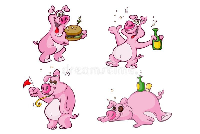 Personagens de banda desenhada bêbados e com fome do porco ilustração do vetor