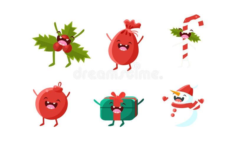 Personagens de banda desenhada bonitos grupo do Natal, ramo do visco, caixa de presente, saco com presentes, bastão de doces, bon ilustração royalty free