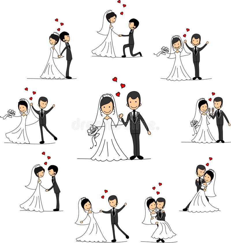 Personagens de banda desenhada do casamento, vetor ilustração royalty free