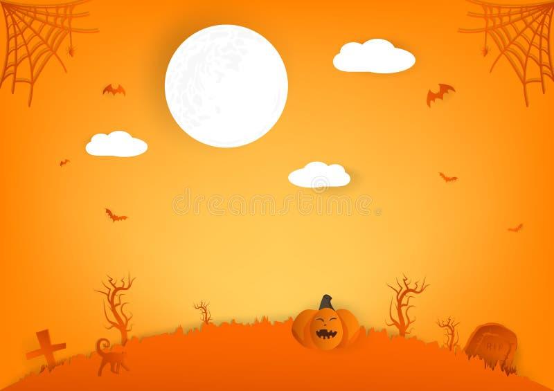 Personagens de banda desenhada do corte, da abóbora, da aranha e do gato do papel de Dia das Bruxas com Lua cheia, fundo do sumár ilustração royalty free