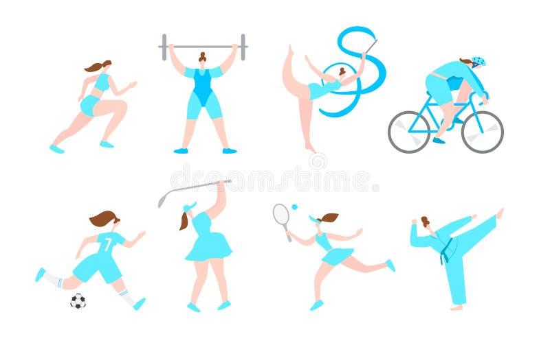 Personagens de banda desenhada do esporte profissional das mulheres Estilo de vida saud?vel da aptid?o Atividades fêmeas da menin ilustração stock