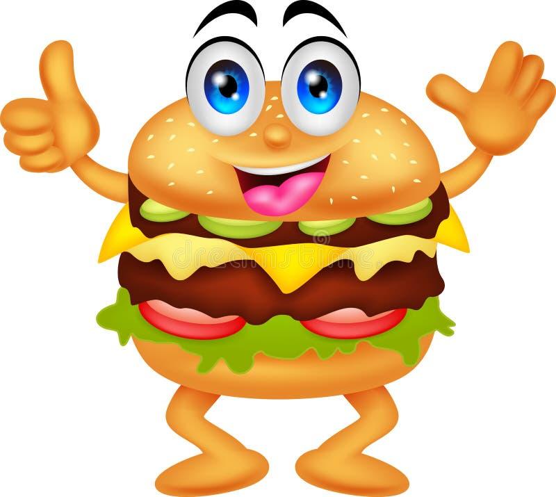 Personagens de banda desenhada do hamburguer ilustração do vetor