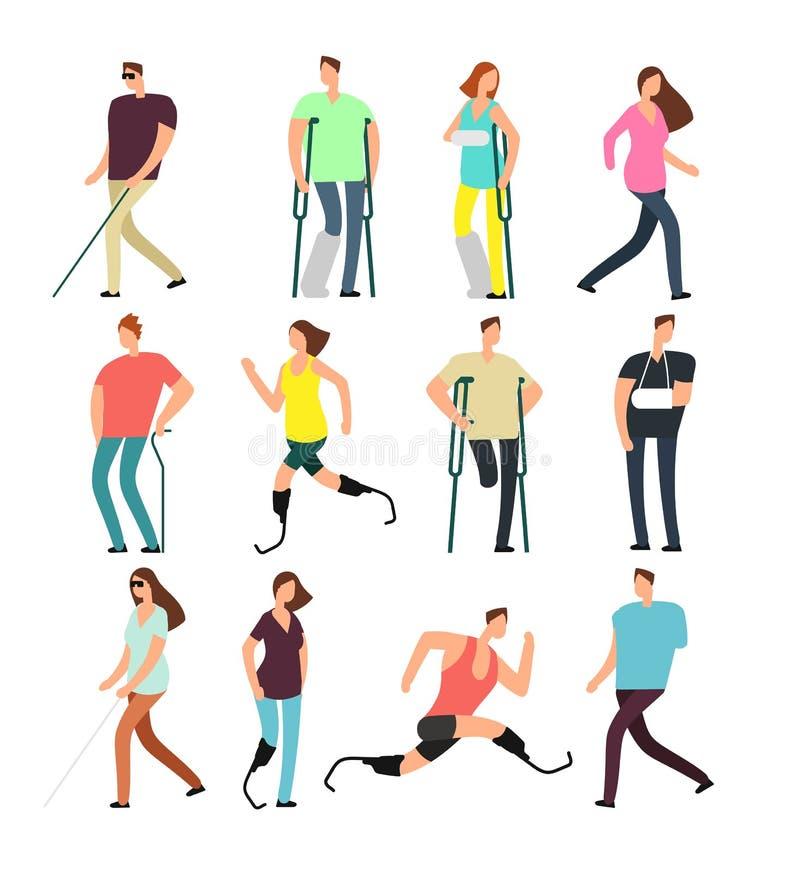 Personagens de banda desenhada do vetor das pessoas deficientes ajustados Povos deficientes isolados no fundo branco ilustração royalty free