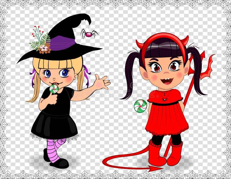 Personagens de banda desenhada dos bebês bonitos pequenos em vestidos de Dia das Bruxas ilustração royalty free