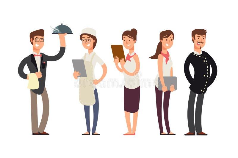 Personagens de banda desenhada dos cozinheiros chefe, do sommelier e da empregada de mesa Conceito do vetor da equipe da cozinha  ilustração do vetor