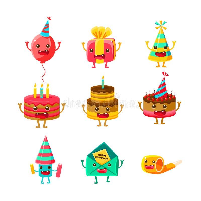 Personagens de banda desenhada dos símbolos do partido do feliz aniversario e da celebração ajustados, incluindo o bolo de aniver ilustração royalty free