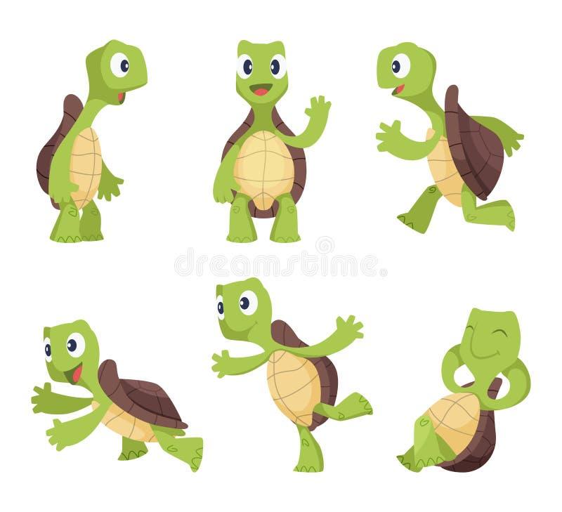 Personagens de banda desenhada engraçados das tartarugas em várias poses ilustração stock