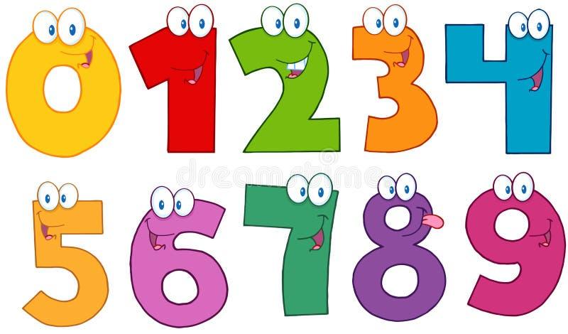 Personagens de banda desenhada engraçados dos números ilustração do vetor