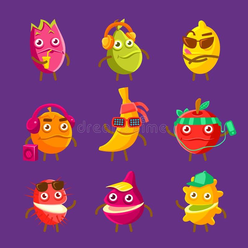 Personagens de banda desenhada frescos do fruto tropical no grupo das férias de etiquetas coloridas com alimentos humanizados ilustração do vetor