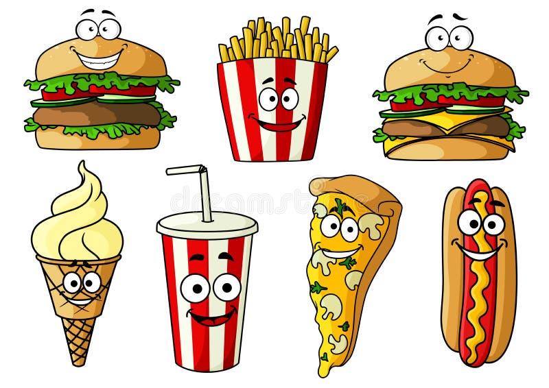 Personagens de banda desenhada isolados fast food ilustração do vetor