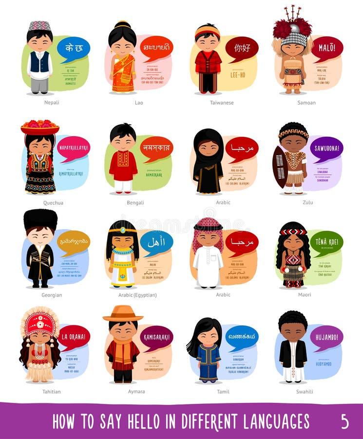 Personagens de banda desenhada que dizem o olá! em línguas diferentes ilustração royalty free