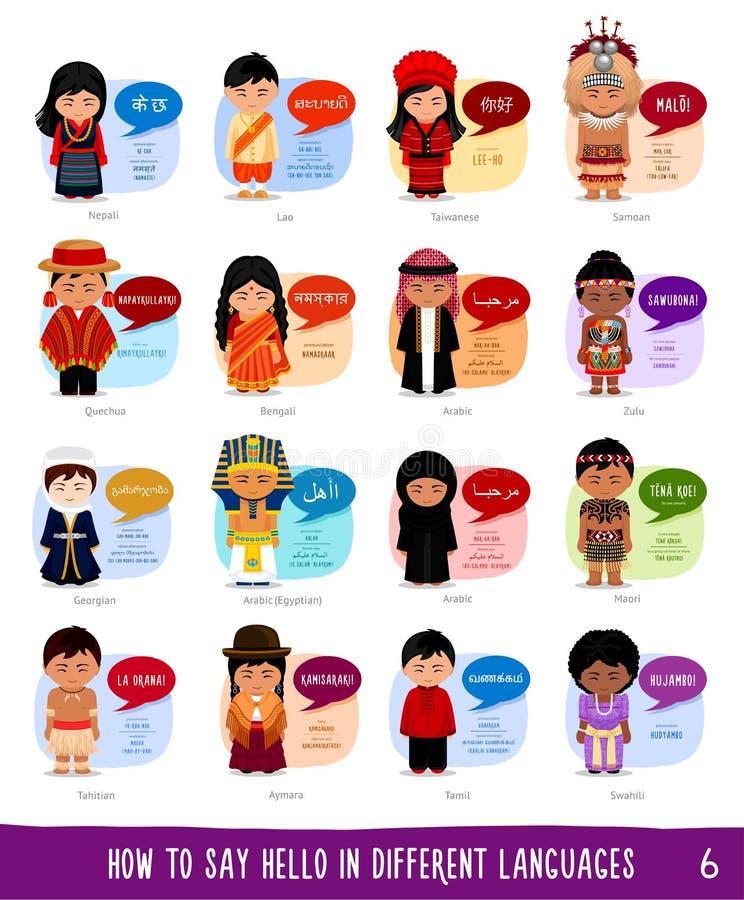 Personagens de banda desenhada que dizem o olá! em línguas diferentes ilustração do vetor