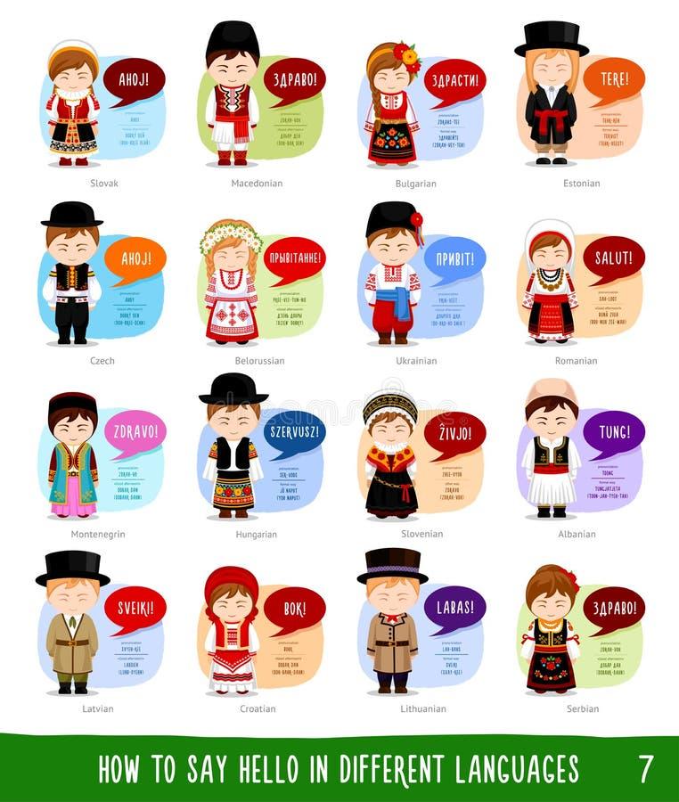 Personagens de banda desenhada que dizem o olá! na maioria de línguas populares ilustração stock