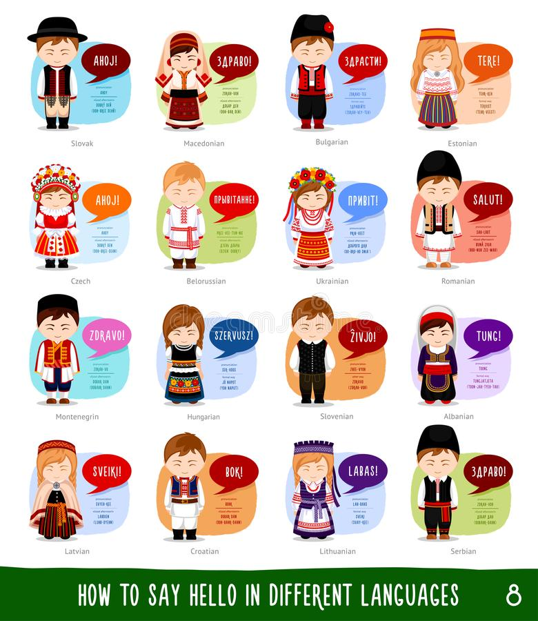 Personagens de banda desenhada que dizem o olá! na maioria de línguas populares ilustração do vetor