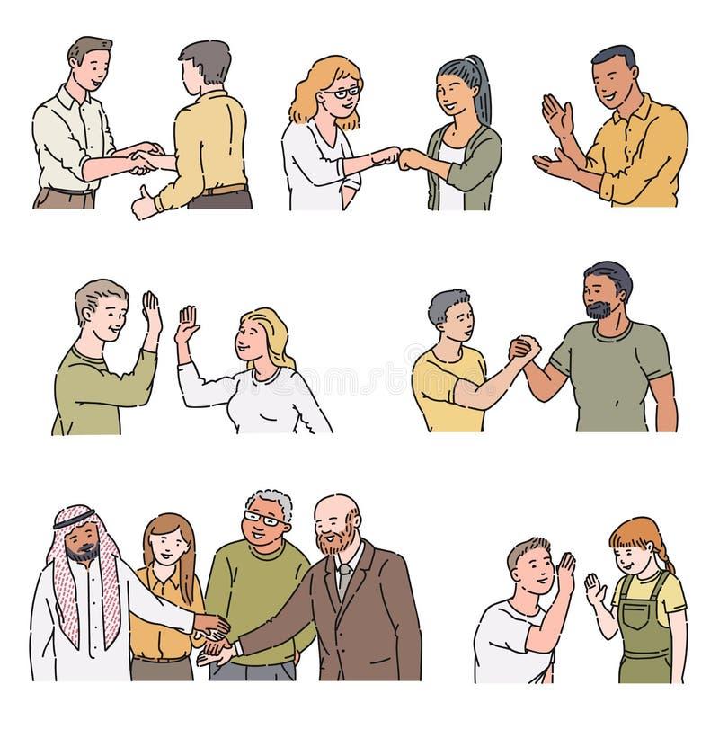 Personagens de banda desenhada que fazem gestos positivos - aperto de mão, altamente cinco, aplauso, colisão do punho ilustração royalty free