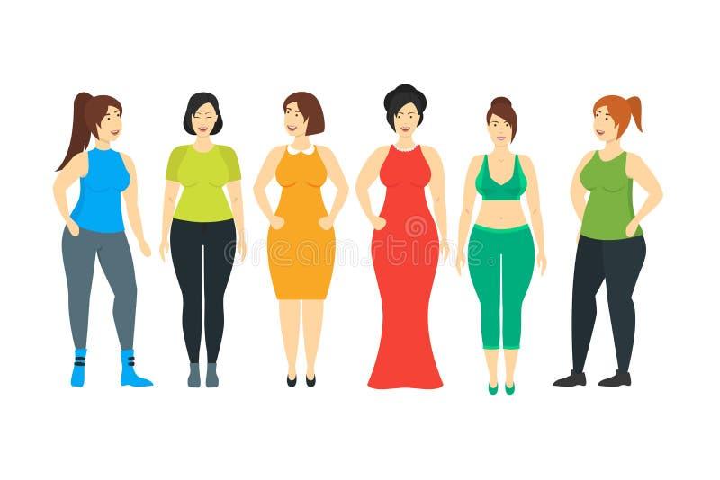 Personagens de banda desenhada que sorriem mais o grupo da mulher do tamanho Vetor ilustração stock