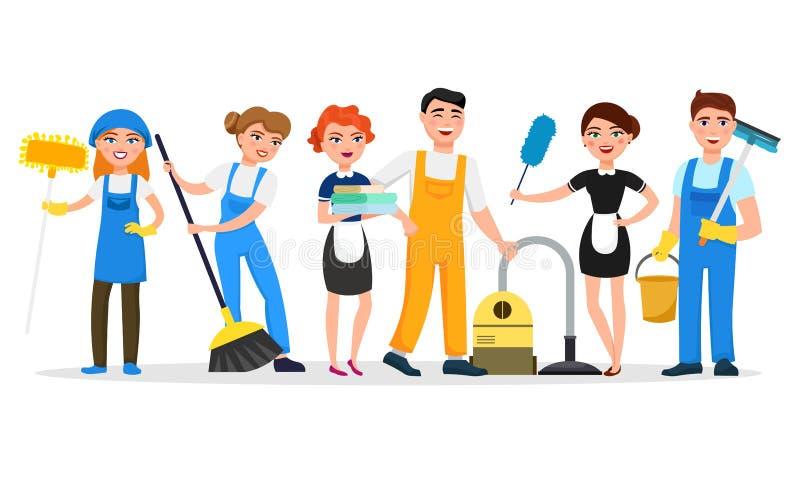 Personagens de banda desenhada de sorriso do pessoal de serviço da limpeza isolados no fundo branco Homens e mulheres vestidos no ilustração do vetor