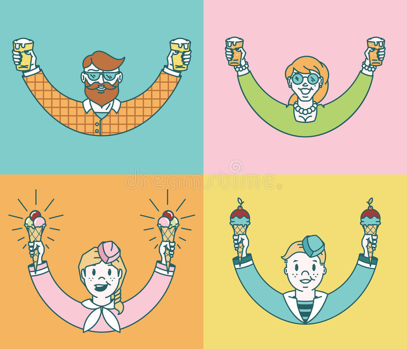 Personages Colored. Vector personages enjoying beer and ice cream stock illustration