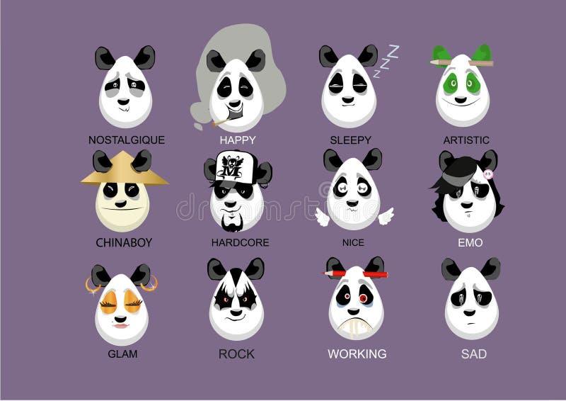 Personages pandas. Panda cartoon mood avatar sad emo working designer vector illustration