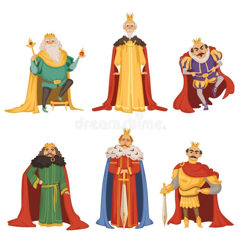Personaggi dei cartoni animati di grande re nelle pose differenti royalty illustrazione gratis