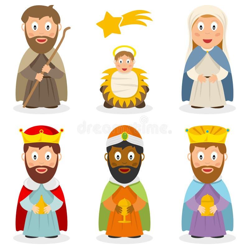 Personaggi dei cartoni animati di natività messi illustrazione di stock